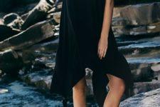 Black loose asymmetric dress