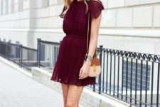 With beige shoes and brown and beige bag