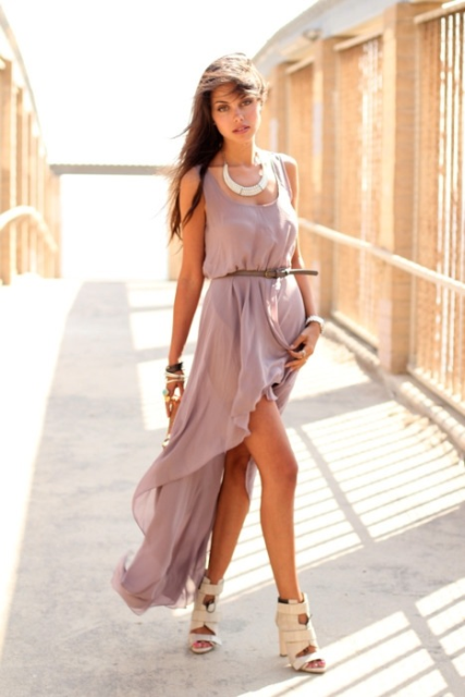 With belt and beige sandals
