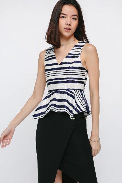 With black asymmetric skirt