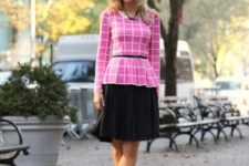 With black knee-length skirt, necklace, belt and pumps