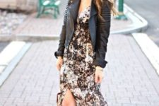 With black leather jacket, pale pink bag and black lace up high heels
