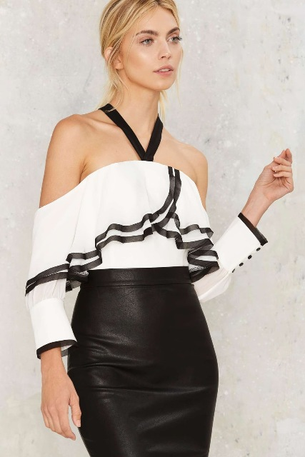 With black leather pencil skirt