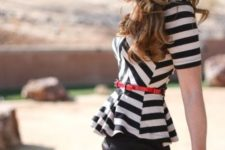 With black leather skirt, red bag and red belt