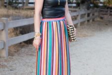 With black leather top, striped clutch and red pumps