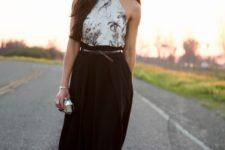 With black paper bag waist midi skirt, belt and pumps