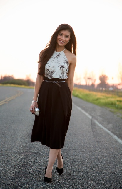 With black paper bag waist midi skirt, belt and pumps