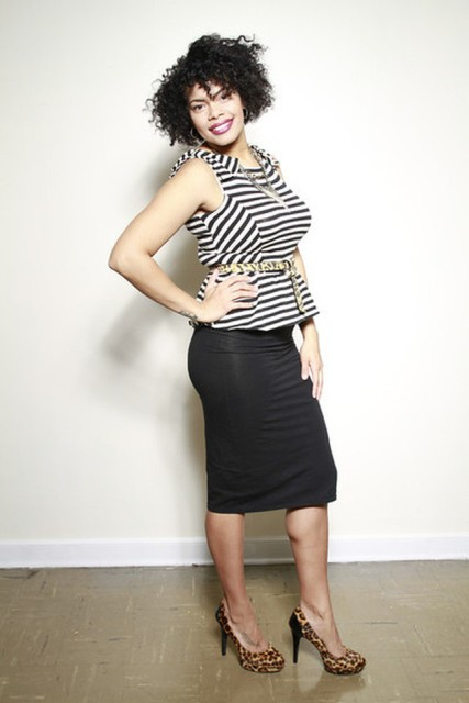 With black pencil skirt and leopard high heels