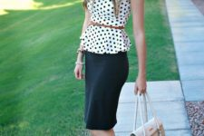 With black pencil skirt, belt, beige bag and cutout shoes