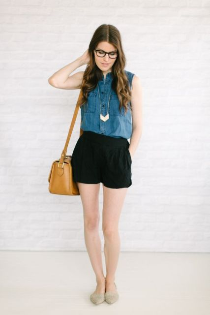 With black shorts, necklace, brown bag and beige flats
