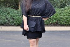 With black straight skirt, black clutch and black cutout shoes
