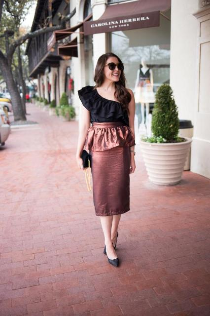 With brown metallic midi skirt, black clutch and black shoes