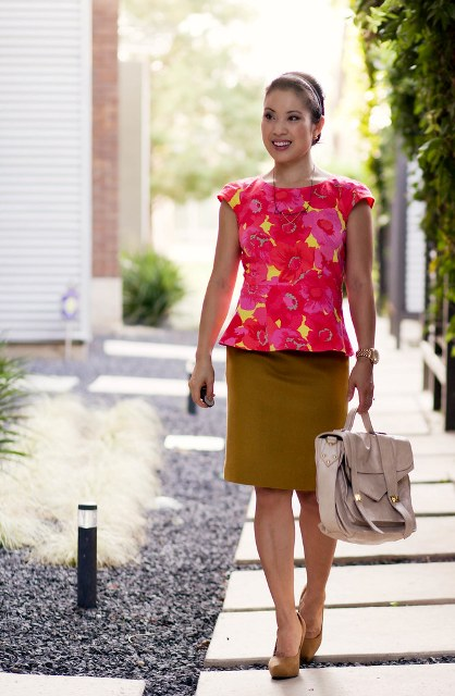 With brown pencil skirt, bag and brown heeled shoes