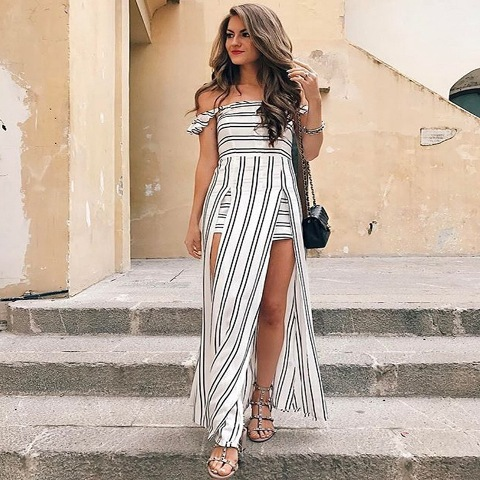 With chain strap bag and flat sandals