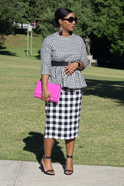 With checked midi skirt, black belt, purple clutch and ankle strap high heels