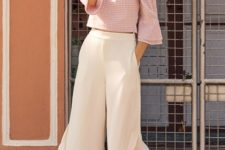 With checked off the shoulder blouse and beige high heels