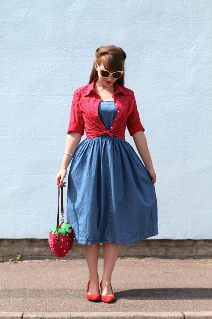 With denim midi dress, red shirt and red shoes