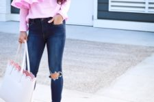 With distressed jeans, white tote bag and beige suede cutout shoes