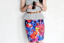 With floral knee-length skirt, brown belt and blue sandals