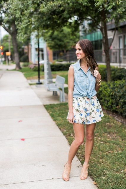 With floral shorts and beige high heels