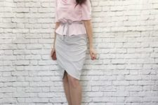 With gray wrapped skirt and platform sandals