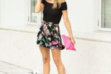 With hat, pink clutch, pink high heels and black off the shoulder top