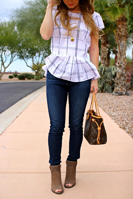 With jeans, printed bag and cutout ankle boots