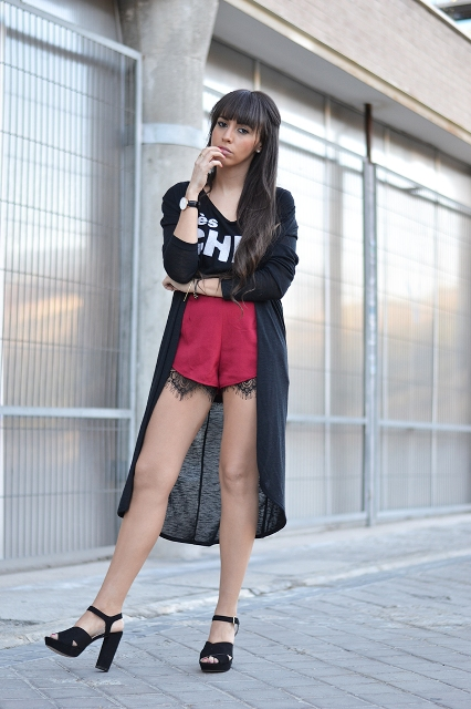 With labeled top, black kimono and black high heels