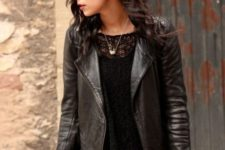 With lace blouse, black leather jacket and tote bag