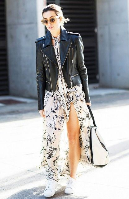 With leather jacket, black and white tote and white sneakers