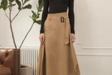 With light brown midi skirt and lace up shoes