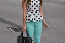 With mint green pants, black flats and black tote bag