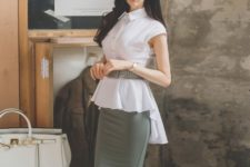 With olive green pencil skirt