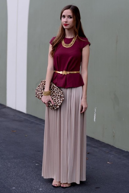 With pleated maxi skirt, leopard clutch and shoes