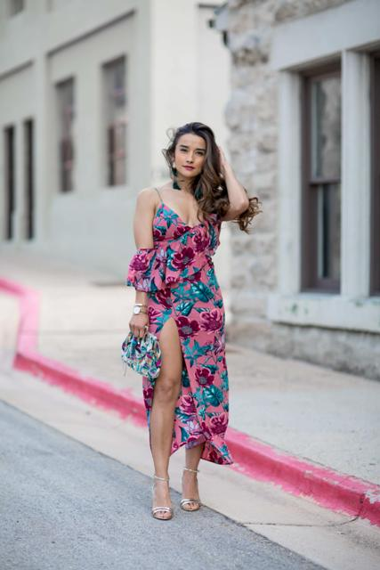 With printed clutch and metallic shoes