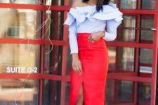 With red high-waisted slit maxi skirt and black pumps