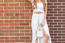 With ruffled top, white bag and white mules