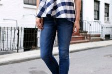 With skinny jeans and polka dot pumps