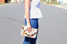 With skinny jeans, printed clutch and orange pumps