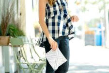 With skinny jeans, white clutch and white flat shoes