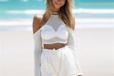 With white high-waisted shorts