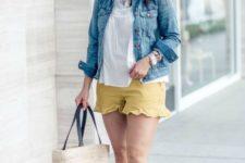 With white loose shirt, denim jacket, hat, platform sandals and tote bag