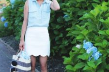 With white mini skirt, striped tote bag and beige sandals