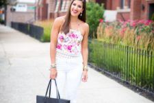 With white pants, leather tote bag and high heels
