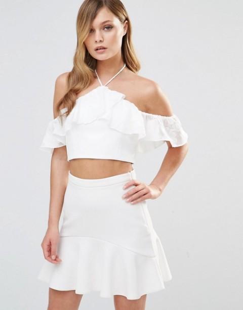 With white skater skirt