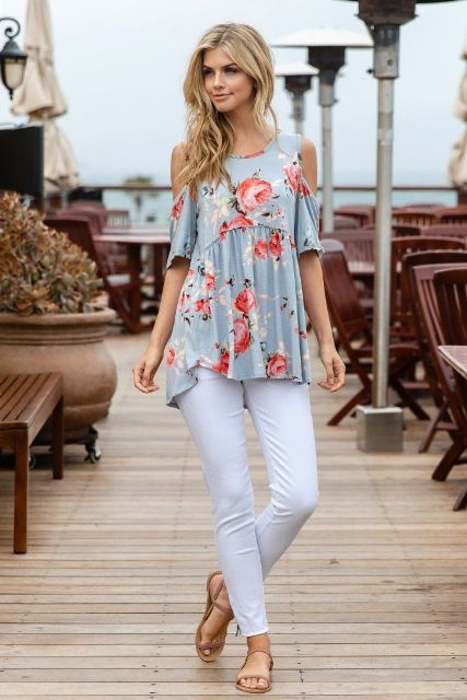 With white skinny pants and beige flat sandals