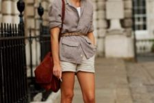 With white t-shirt, beige shorts, shoes and marsala bag