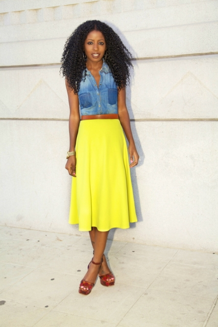 With yellow midi skirt, brown belt and printed ankle strap shoes