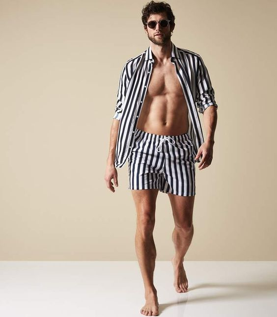 a beach seat of a striped shirt and matching shorts   sets are a trend this year, no matching required