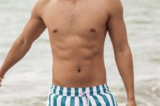 teal and white vertical stripe trunks are a fresh take on a traditional navy and white color scheme
